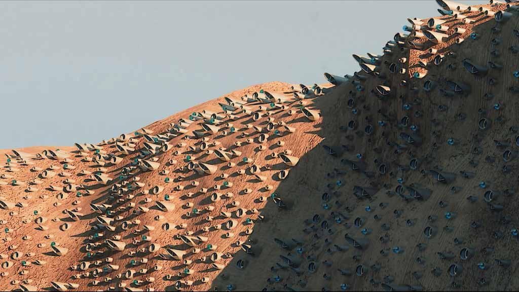 Посмотрите, как пролетит над Марсом город, рассчитанный на четверть миллиона человек.