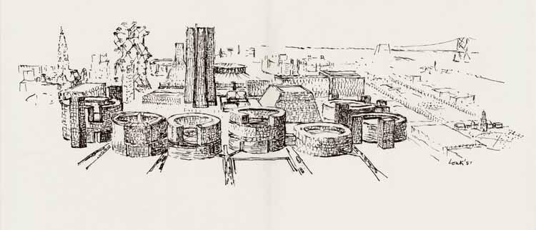 Ричард Саул Вурман: «Есть культ Луи Кана, и я член!», Исследование Луи И. Кана в 1956 году для центрального города Филадельфии, чернила на кальке. Изображение предоставлено дизайнерами и книгами