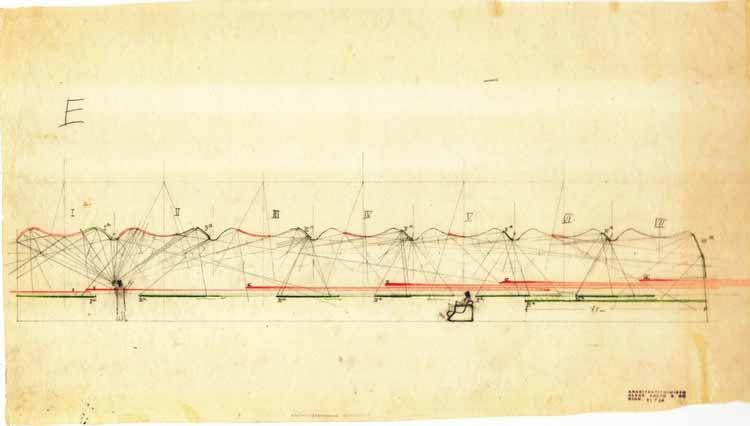 Croqui de Alvar Aalto da Sala de Conferências na Viipuri Library