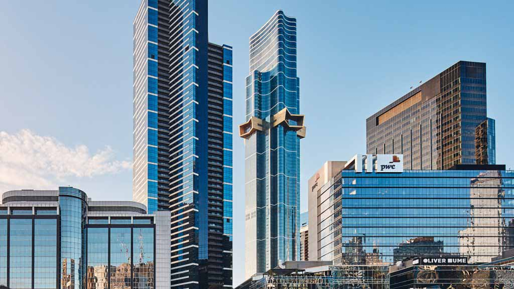 Небоскреб Австралия 108, отмеченный консольной золотой звездой