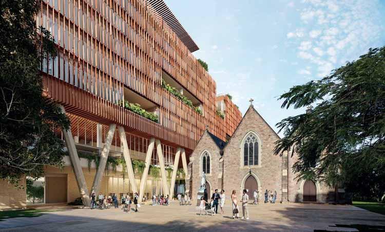 Офисный блок в Брисбене возвышается над исторической церковью Святого Патрика, любезно предоставлено BVN