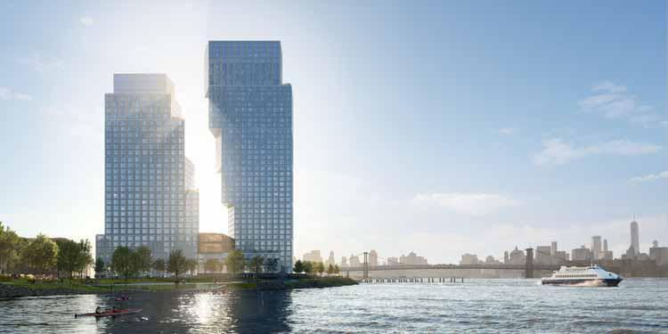 Посадочные башни Greenpoint в Нью-Йорке от OMA / Джейсона Лонга достигли высшей точки строительства, любезно предоставлено OMA