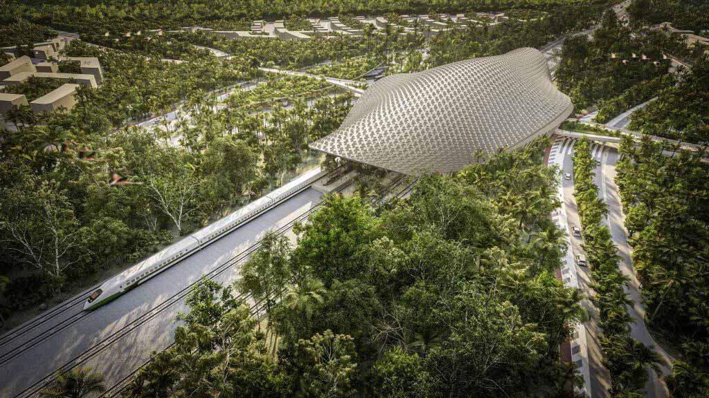 Железнодорожный вокзал Тулума с решетчатой крышей, спроектированный Aidia Studio