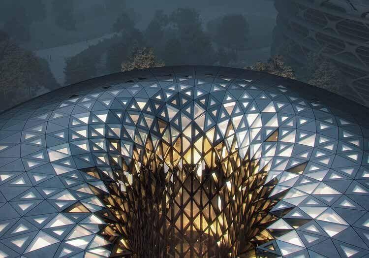 Как архитектурные фирмы используют генеративный дизайн сегодня, рендеринг проекта «Остров единорога» в Чэнду, разработанный Zaha Hadid Architects.  Изображение © МИР
