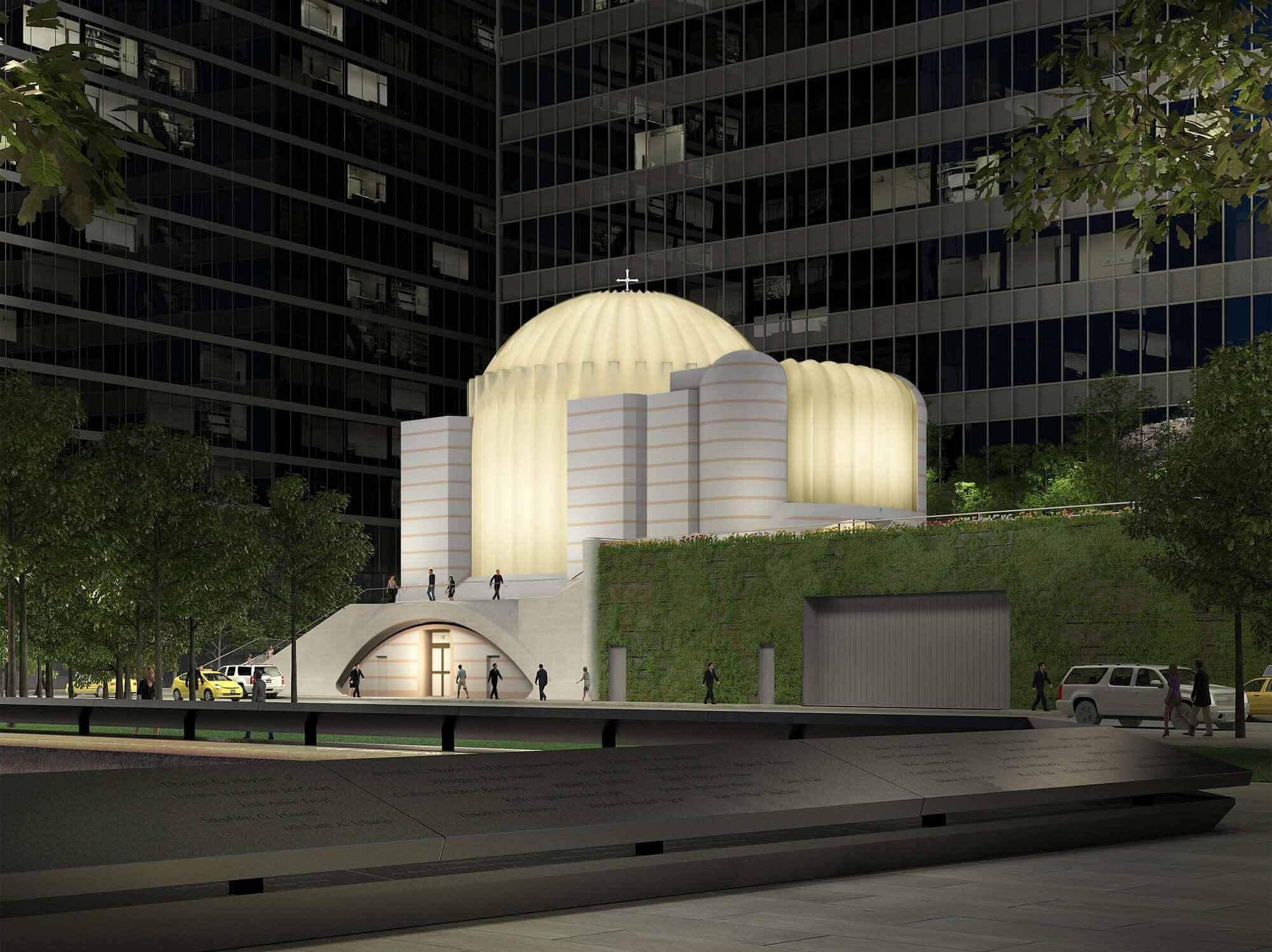Сантьяго Калатрава восстанавливает греческую православную церковь Св. Николая и национальный храм 11 сентября 2001 г.