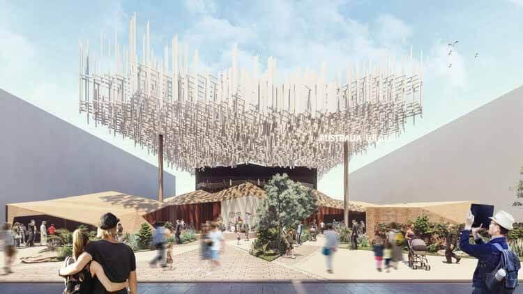 Австралийский павильон на выставке Expo 2020 Dubai отражает самобытную культуру и ландшафт страны, предоставлено бюро ^ proberts