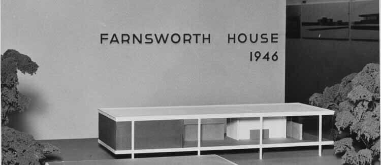 Очарование и важность архитектурных моделей, модель дома Фарнсворта.  Изображение с первой выставки Людвига Миса ван дер Роэ в МоМА в 1947 году.