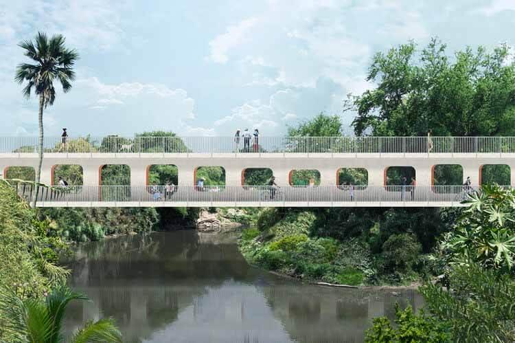 OMA / Shohei Shigematsu раскрывает дизайн пешеходного моста Джохутла в Мексике, Cortesía de OMA, Нью-Йорк