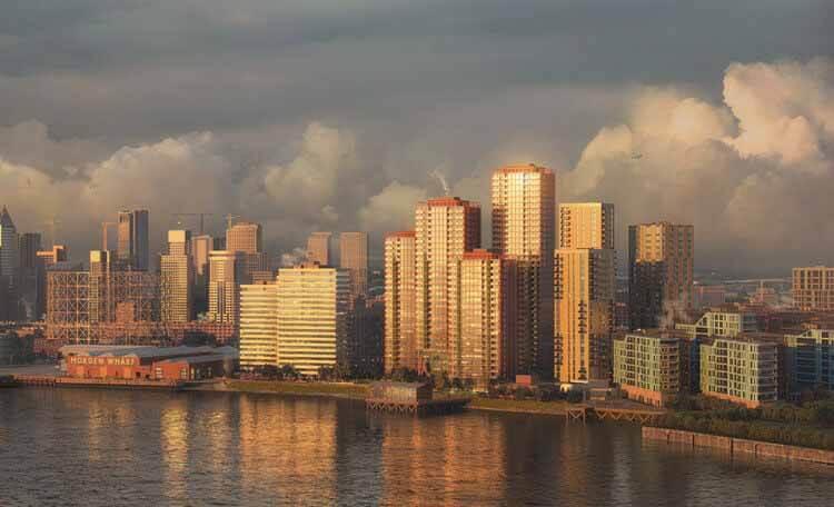 Получено согласие на разработку генерального плана OMA / Рейнье де Граафа для Morden Wharf в Лондоне, © Pixelflakes