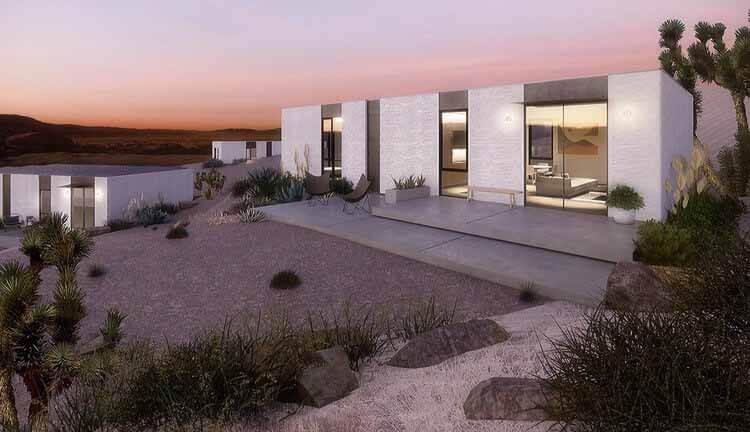 Строим будущее с помощью 3D-печати и визуализации в реальном времени, дома для одной семьи Mighty House и ADU, спроектированных EYRC Architects.  Выполнено в Enscape.  Изображение предоставлено EYRC и Mighty House