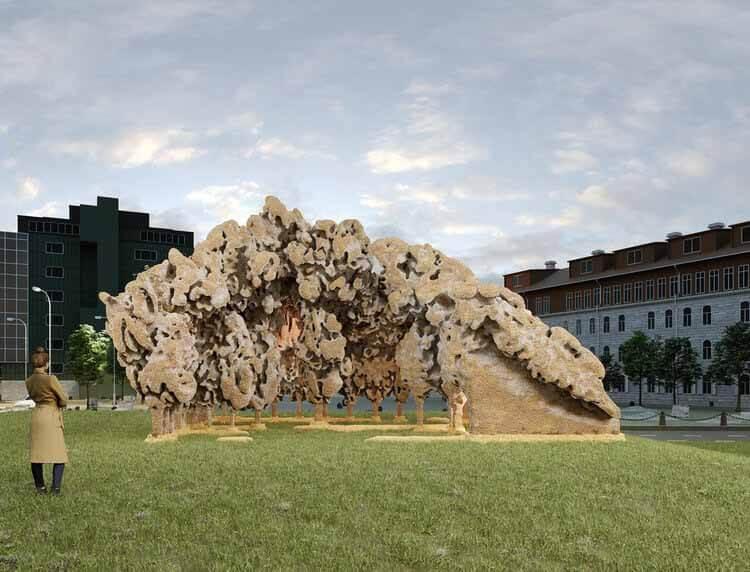 Инсталляция из грибов стала победителем конкурса Таллиннской архитектурной биеннале 2022 года, любезно предоставлено Simulaa