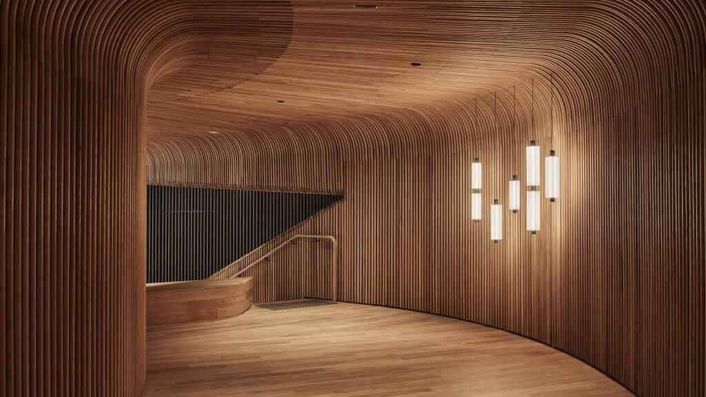 Туннели из гнутой паром древесины в демонстрационном зале Sculptform от Woods Bagot