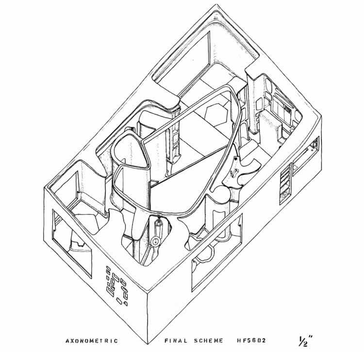 Внутри затерянного дома будущего Смитсонов, рисунок Элисон и Питера Смитсонов.  Изображение предоставлено Стюартом Хиксом
